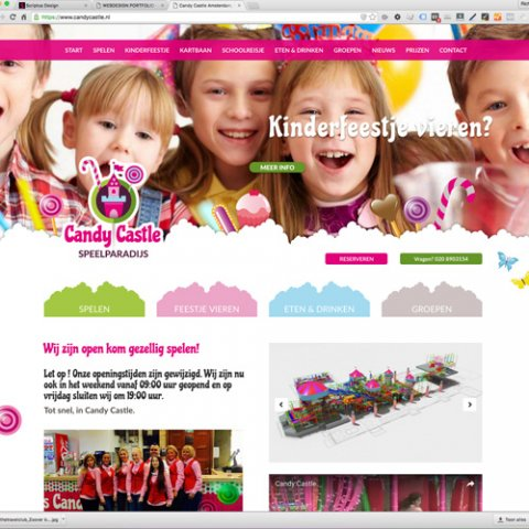 Speelparadijs Candy Castle webdesign en CMS